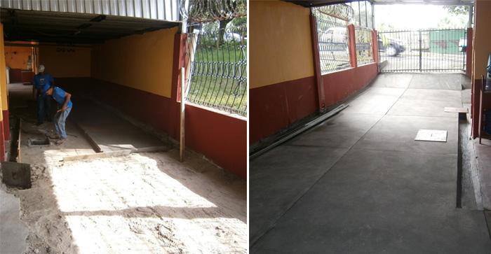 Antes y después de un trabajo de restitución de piso de concreto en garaje realizado por Mr. Fix It.
