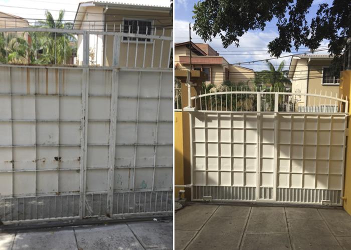 Portón, antes y después